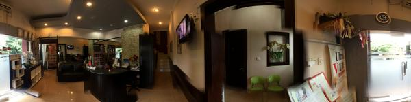 Manika Aesthetic Clinic - Denpasar, Bali - Reception area in front of entrance and Waiting area